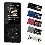 FenQan MP3-Player, MP3 Musik Player HiFi-Sound, Tragbare Mehrfarbig, 8 GB-Speicher-Unterstützung 64 G TF Karte, 70 Stunden Wiedergabe (Schwarz)
