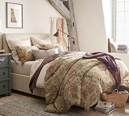 Pottery Barn Grace Bettdecke mit Blumenmuster, Leinenstruktur, King-Size-Bett und 2 Kissenbezügen - California King-size-bett Bettdecken