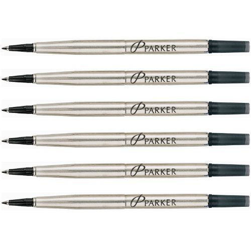 Parker Quink Ink RollerBall Fine Point Black Ink Refill 6 Refills 3021331 by Parker
