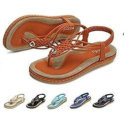 gracosy Sandalias Planas Verano Mujer Estilo Bohemia Zapatos de Dedo Sandalias Talla Grande Cinta Elástica Casuales de Playa Chanclas Romanas de Mujer 2019 Azul Negro Púrpura Rhinestone de Moda