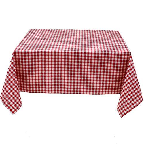 Hans-Textil-Shop Tischdecke 80x80 cm Karo 1x1 cm Rot Baumwolle (Pflegeleicht, Bei 60° waschbar, Trocknergeeignet, Wiederverwendbar, Gewebtes Karomuster)
