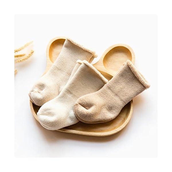 DEBAIJIA 3 Pares de Calcetines Bebé Algodón organico Grueso Calcetines Térmicos Largo Recién Nacidos 0-36 Meses Invierno… 4