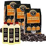 Grill Republic 3x Tischgrill-Kohle 2,5kg & 3x Brennpaste 500ml / 100% reine Buchenholzkohle für rauchfreie Tischgrills wie den Lotusgrill