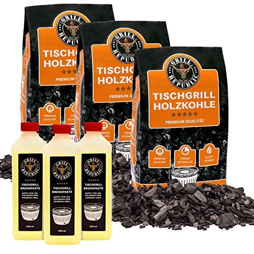 Grill Republic 3x Tischgrill-Kohle 2,5kg & 3x Brennpaste 500ml / 100{b6b14365c7894b174e0fcd9e251cd9a2a01ed64c1ca951d1a5ee64c333edc3a5} reine Buchenholzkohle für rauchfreie Tischgrills wie den Lotusgrill
