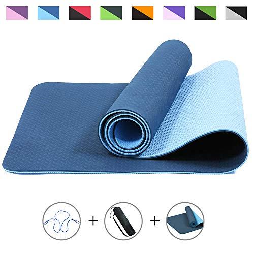 ROMIX Esterilla Yoga, Exercise Mat Eco-Friendly 6MM de Gruesor TPE con Bolsa de Transporte, Colchoneta de Yoga Antideslizante para Hombres, Mujeres, Hogar, Gimnasio, de Meditación Pilates (Azul)
