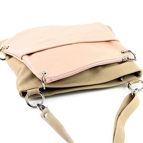 modamoda de -. cuoio ital Borsa da donna Messenger bag borsa a tracolla in pelle borsa NT07 2in1 Beige/Rosa