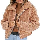 Moonuy Frauen Outwear Damen Langarm-Mantel 2018 Warm Günstige Künstliche Wollmantel Reißverschluss Jacke Winter Turn Dowm Kragen Parka Windcoat