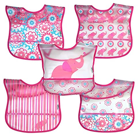 green sprouts Wipe-Off Bib (Pink Elephant, Pack of 5)