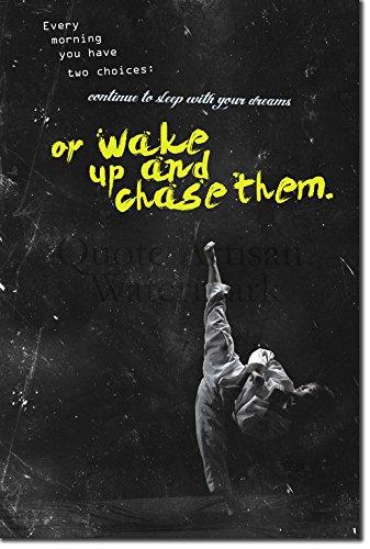 """TPCK Taekwondo Motivierungs Foto Poster 09"""" Wake up and chase them. Hochglanz Kunstdruck Geschenkartikel Inspirierender motiviernder Zitat - Maße: 30 x 20 cm"""