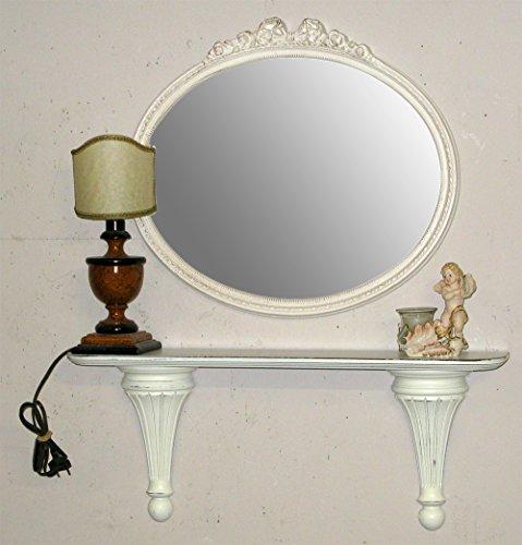 Arredo selli specchiera ovale e mensola bianco provenzale