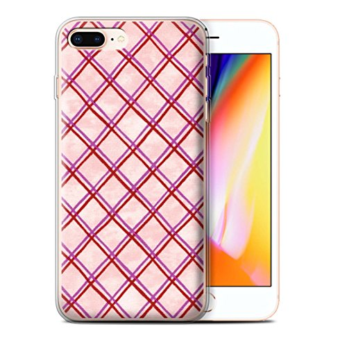 Stuff4 Gel TPU Hülle / Case für Apple iPhone 8 Plus / Grün Muster / Kreuz Muster Kollektion Rosa/Rot