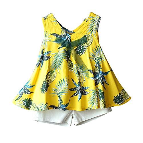 its,Kleinkind Kind Baby Mädchen Ananas Drucken T Shirt Kleid Tops Kleidung Set Weiße Shorts Zweiteiler 1-6T(Gelb,4-5 Jahre/130) ()