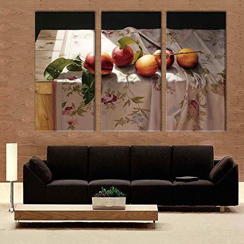 FYBSNDY 3 Panel Pfirsich Auf Küche Dask Print Rahmenlose Leinwand Kunst Ölgemälde Dekoration Modulare Bild Für Wohnzimmer Wand 40 cm X 60 cm X 3 -