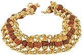 #4: Glory Jewels Brass Rudraksha Gold Plated Chain Bracelet For Men