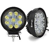 Safego Pack de 2 Faros de luz led Impermeables de 27 W, 12 V, 24 V para camión, 4x4, vehículo Todoterreno, Tractor, etc.