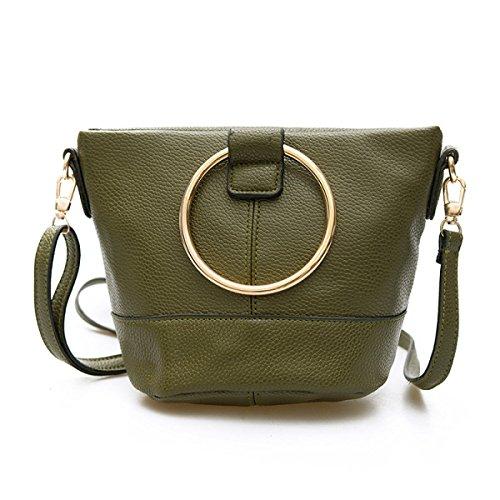 FZHLY Nuova Mini Bag Benna Signore Rotonda Nappa Messenger Bag,Green Green