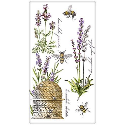 Mary Lake Thompson Mehlsack Handtuch entworfen von Botanical Lavendel, Bees, Skep - Geschirrtücher Lavendel