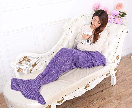 Zmsj-lavorati a maglia Handmade Mermaid Tail Coperta, Sofa Quilt Soggiorno Coperta Mermaid per adulti e bambini 180cmX90cm (Viola)