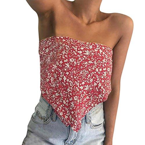 Deep Bikini Brief (Frühling Sommer T-Shirt Damen Spitzenbluse Hirolan Damen Gedruckt Aus der Schulter Ärmellos Tanktops Weste Hemd Bluse Sommerkleider Crop Camis (S, Rot))