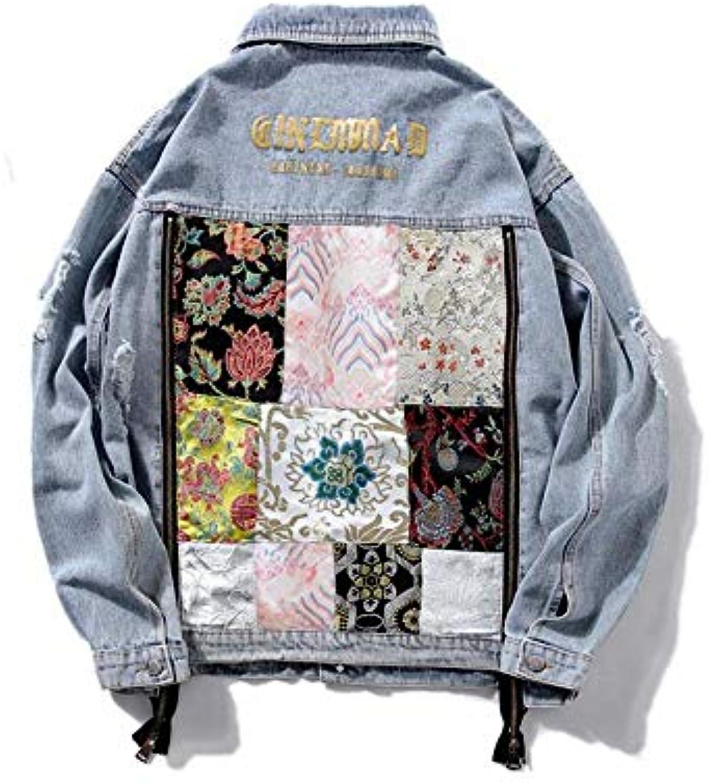 RLWQLFS Giacca di Jeans Vintage Denim Giacca da Donna Moda Jean Ricamo Zip  Allentato Jean Moda Cappotto Donna Casual Jaqueta... 9b7062 fc565d6fc4d