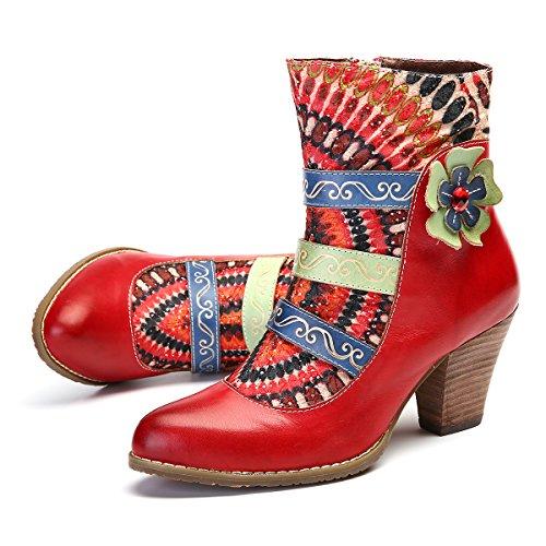 gracosy Damen Stiefeletten Bunt, Schuhe Damen Herbst Leder Stiefel Bedruckt Retro Handgemachtes Reißverschluss Schuhe High-Top Block Ferse Rutschfest Bequeme Arbeitsschuhe Stiefeletten mit Absatz -