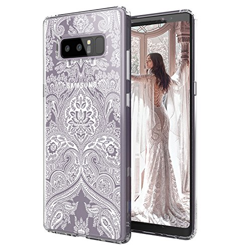 MOSNOVO Galaxy Note 8 Hülle, Damask Henna Mandala Lace Klar Entwurf Drucken TPU Bumper mit Hart Plastik transparent Handyhülle Schutzhülle für Samsung Galaxy Note 8, Galaxy Note 8 Case (Damask)