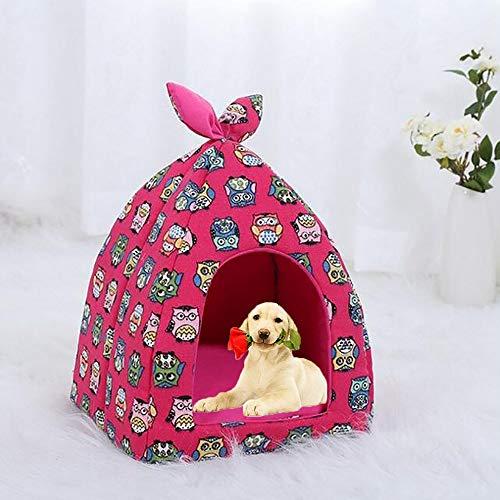 FXQIN Katzen-Haustierzelt, halbgeschlossenes Innen-Tipi für Katzen, Kätzchen und kleine Haustiere, mit abnehmbarem Kissenpolster, faltbar (Rose),L