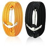 Skipper Partner-Armbänder 2er Set mit Silbernem Edelstahl Anker für Paare - Orange + Schwarz 7066