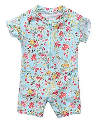 CharmLeaks Baby - Einteiler Kinder Badeanzug für Mädchen Allover Blumen Print UV-Schutz 50+ Kirschblüte 9-12 Monate
