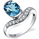 Revoni Channel Set 2.00 carats Swiss Blue Topaz Diamond CZ Ring in Sterling Silver