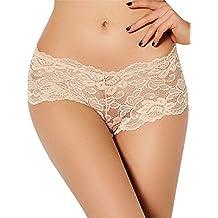 Gudelaa Mujeres Tallas Grandes Bragas Transparentes de Encaje Bikini Breve Panty Beige 3XL