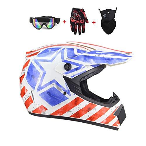 SICOFD Adult Motocross Motorradhelm Cross Helme mit Handschuhe Maske Brille für Motorrad Kinderquad und Crossbike Offroad Helm für Erwachsene Jugend Junior Kinder Kinder,S