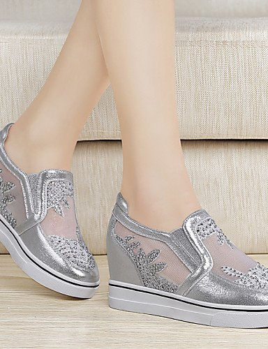 ZQ Damenschuhe - High Heels - B¨¹ro / Kleid / L?ssig / Sportlich - Glanz / T¨¹ll - Keilabsatz - Creepers - Wei? / Silber silver-us7.5 / eu38 / uk5.5 / cn38