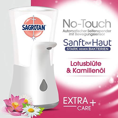 Sagrotan No-Touch Automatischer Seifenspender Weiß – Inkl. Sagrotan Nachfüller Lotusblüte & Kamillenöl – 1 x 250 ml Flüssigseife