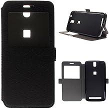 BeCool® - Funda carcasa tipo Libro con función soporte para Elephone P8000 Ventana Negra con ventana S-View, Negra