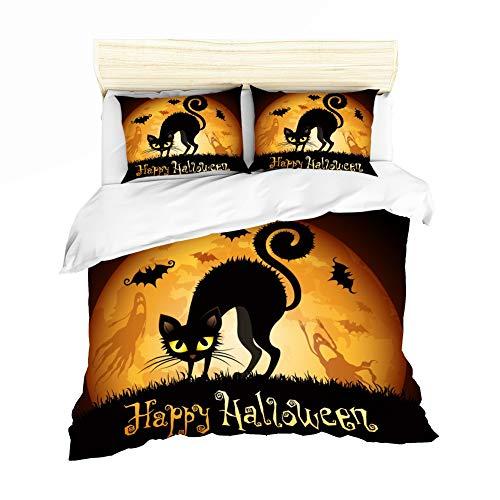 ZHYY Cartoon Pferd Halloween Heimtextilien Schwarz Gelb 3 stücke Bettwäsche-Sets for Kind Kinder Bettbezug Bettbezug Kissenbezüge (Farbe : 9, Size : King-259x229cm)