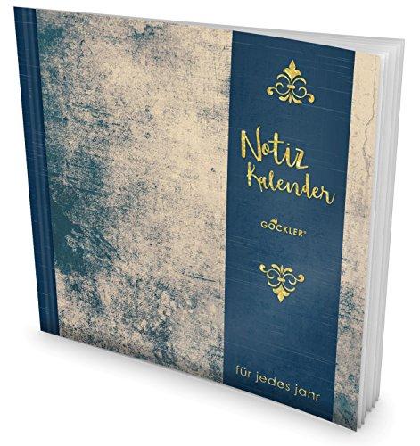 GOCKLER® Notiz-Kalender: Universaler Tagebuch-Kalender || 1 Zeile pro Tag + Notizseiten + Glänzendes Softcover || Ideal für Geburtstage, To Do's & Termine || DesignArt.: Grunge Wall