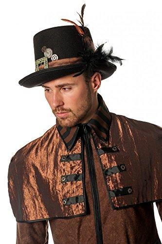 1ed130e39f9 shoperama Women s Black Steampunk Top Hat with Buckle Brown Strap Spring Men