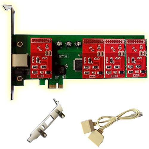 ANALOG Karte tdm400mit 4FXO + 0FXS, PCI-e-Stecker, mit niedrigem Profil für 2U Server (4-port Fxo Analog)