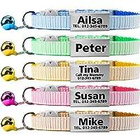 TagME Collares de Gato Personalizados con Placa de Nombre/Collares de Perro pequeños con Nombre, número de teléfono, número de Microchip/Patrón de Rayas/Blanco