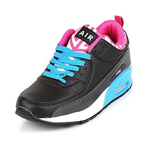Baskets de running Air anti-choc Fitness Gym Sport pour femme Black Grey & Blue