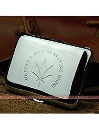 Marihuana Weed Leaf Premium acero inoxidable grabado funda para cigarrillos