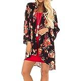 ITISME Damen Strickjacke Women Summer Plus Size Beach Floral Chiffon Kimono Cardigans Cover Ups Mode WollweißE KnöPfe Weiss Marineblau Jeansblau Viskose Weinrote Pinke Zum Kurzarmstrickjacke