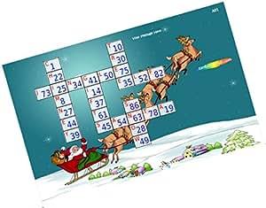 Party Stuff Christmas Theme Tambola Housie Tickets - Christmas Crossword Kukuba - Crossword kukuba (12 Cards) | Kitty Games