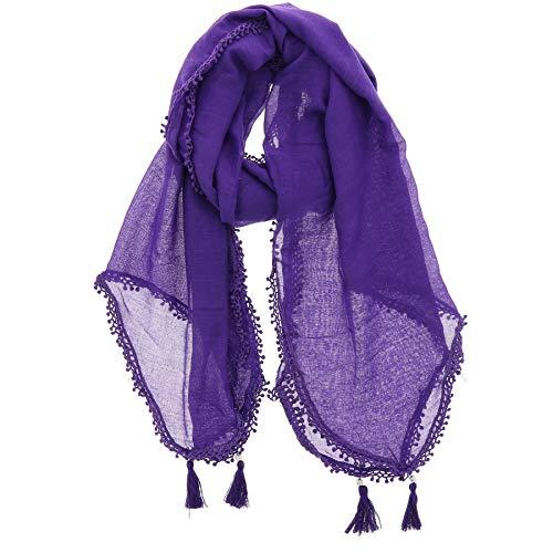 FASHIONGEN - Bufanda de mujer con borlas, tacto de algodón, RETTYP - Morado