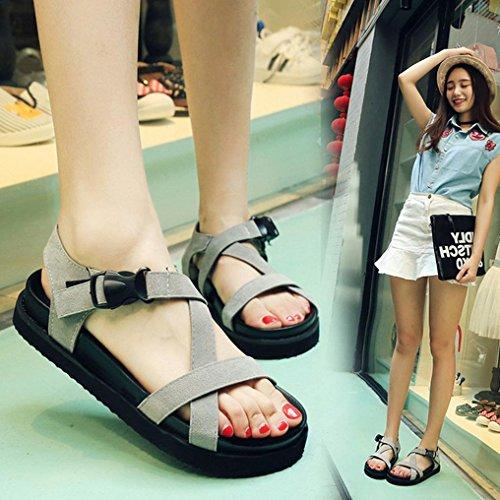 DM&Y 2017 La signora della moda testa di pesce selvaggio versione fibbia coreana dei sandali casuali fondo focaccina Grey