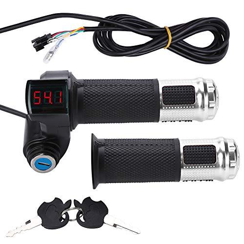 Elektrofahrrad Gasgriff Elektro-Scooter Batteriespannung mit LED-Anzeige und Power Key Locker Accelerator ( Farbe : Sliber )