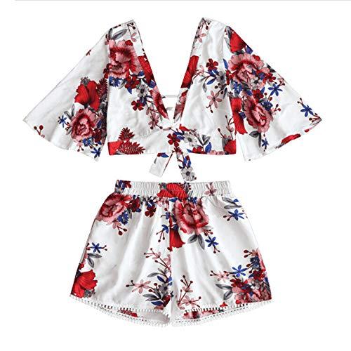 Damenmode Outfit Sonnenblume Muster 2-teiliges Set Overall Teenager Mädchen Schulterfrei Beachwear Crop Tops + Strand Shorts Kurze Hose für den Sommer (Zip Top Haut)