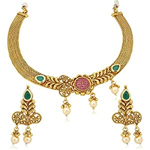 Vk Jewels Wedding Collection Gold Brass Alloy Necklace Set for Women V.. 59ccaafe32f39