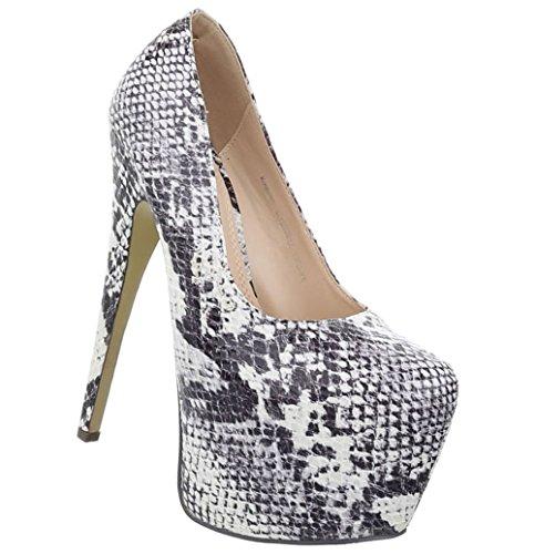 Damen Schuhe Pumps Stiletto High Heels Metallic Party Schuhe Glitzer Abendschuhe Hochzeitsschuhe Pfennigabsatz Plateau Creme Multi 38